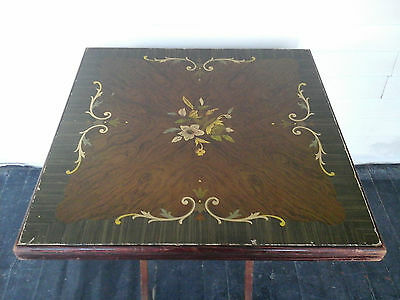 VINTAGE ANTIQUE 1940's MID CENTURY WOODEN FOLDING FLOWER ROSE LEAFS CARD TABLE