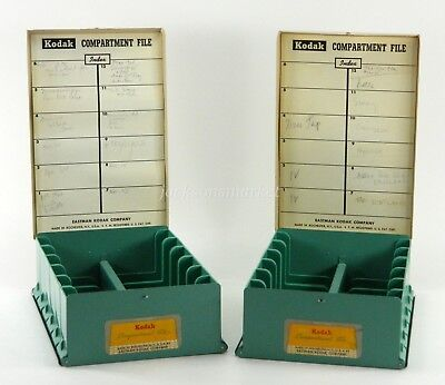 Kodak Compartment File Metal 35mm Slide Storage Boxes Two (2) Green and Tan