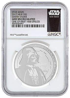2017 Niue Star Wars Darth Vader 1 oz Silver 1 of First 1,000 NGC Gem BU SKU48274