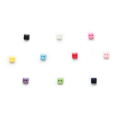 100pcs Multicolor 2 hole Square Resin buttons Sewing Scrapbooking Decor 6mm