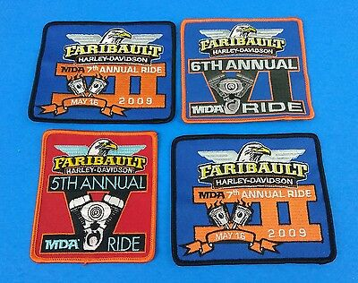 Lot of 4 New Harley Davidson Faribault 5-7th Annual Ride Patches!!