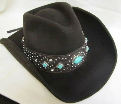Western Cowgirl Hat Felt Montana West Ladies - Small New - Brown w/Bling - 9011