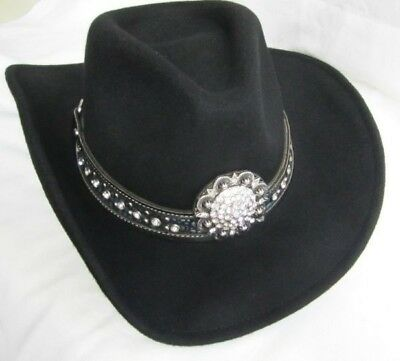 Western Cowgirl Hat Felt Montana West - SMALL  New  Black - Stoney Bling 9016