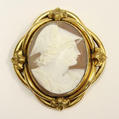 Victorian Hermes Mercury Brooch with 2 x 1.5 inches problem free cameo  26.5 gr