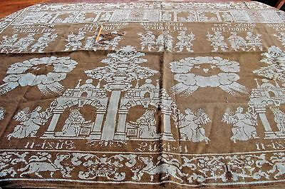 Busy Antique Jacquard Religious Story Telling Coverlet Table Throw
