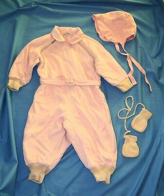 Vintage 1950's Tidykins Pink Baby Snowsuit with Bonnet and Mittens