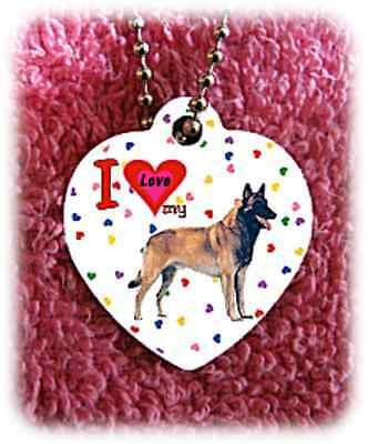 """Belgian Malinois Dog heart necklace 24"""" chain background of hearts"""
