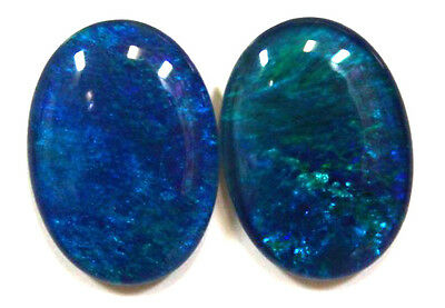 18x13mm Loose Stones Pair Of Natural Black Triplet Opal Stones For Earring #105