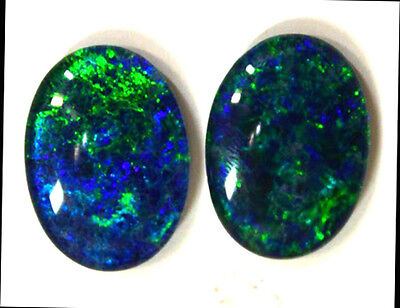 18x13mm Loose Stones Pair Of Natural Black Triplet Opal Stones For Earring #106