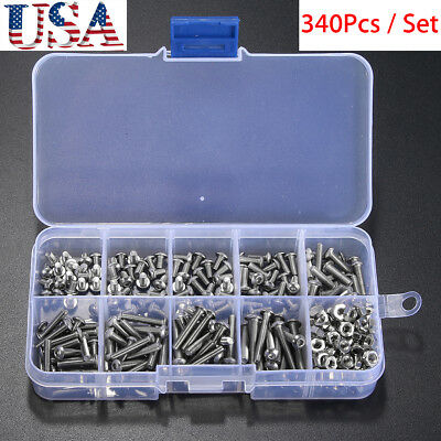 340x Metric M3 304 Stainless Allen Button Head Hex Socket Cap Screw Bolt Nut Set