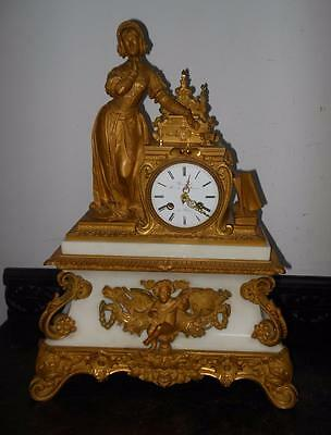 nice quality french white marble ormulu mantel clock retailed by bernard