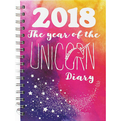 A5 2018 Unicorn Diary - Week To View, Stationery, Brand New