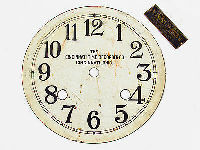 Cincinnati Time Recorder Co. Punch Clock Face and Brass Badge