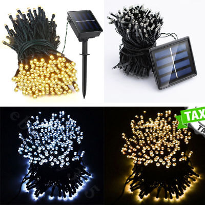 100 200 500 LED Solar Battery Powered Fairy String Lights Garden Party Deco XMAS