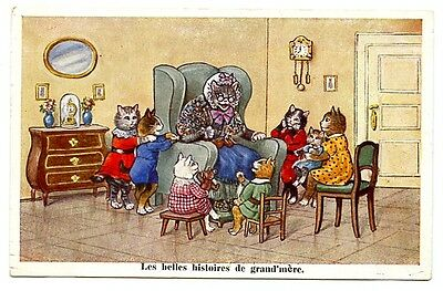vintage cat postcard dressed cats grandma story time CAT CHARITY