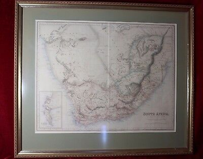 Antique Pre 1900 Map South Africa Framed