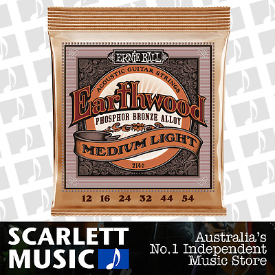 Ernie Ball 2146 Earthwood Phosphor Bronze Medium Light Acoustic Strings *NEW*
