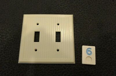 1 Ivory Vtg Bakelite Ribbed Deco Double Gang Bryant Switch Plate Cover BB6