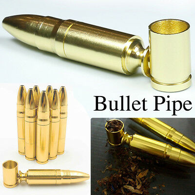 Lightweight easy to carry 78mm Novelty Gold Aluminum Bullet Holder pipe Smokers