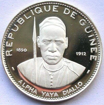 Guinea 1969 Alpha Yaya Diallo 250 Francs Silver Coin,Proof