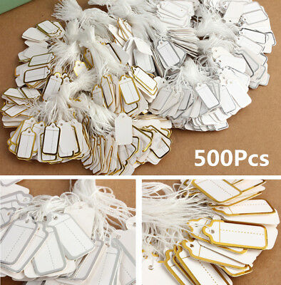 500pcs Price Tags Tie String Strung Tickets Watch Cloth Jewelry Display Labels