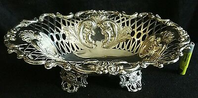 Large Antique Sterling Silver Oval Foliate Peirced Dish - Bowl Sibray Hall 1893