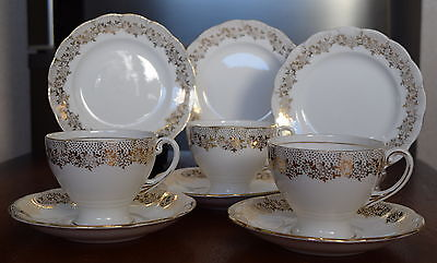 THREE 3x Trio's ROYAL STANDARD White with Delicate Gold Filigree High Tea Trio