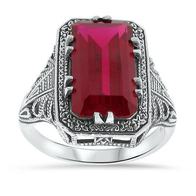 7 Ct LAB RUBY ANTIQUE ART DECO STYLE .925 STERLING SILVER RING,   #13