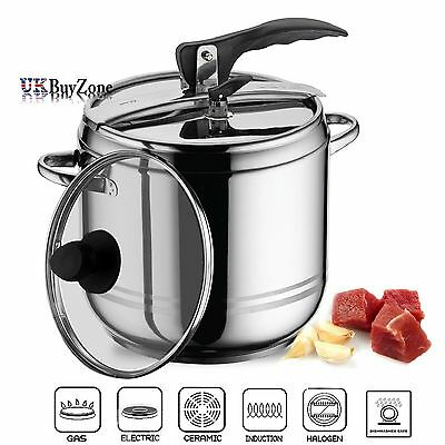 2 in 1 Stainless Steel Stovetop Pressure Cooker Stockpot With Glass Lid 9 Litre
