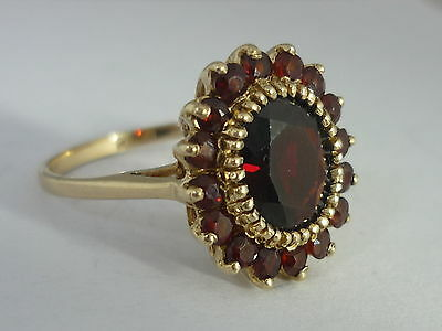Stunning Vintage Garnet & 9Ct Yellow Gold Ring By HJ - Size P