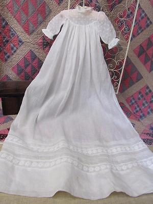 Antique LONG Baby CHRISTENING Baptism WHITE Embroidered Cotton Batiste Doll