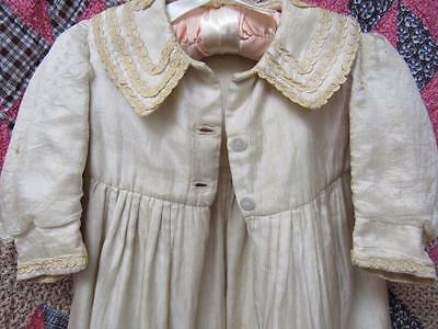 Antique 1900s LONG Baby CHRISTENING Baptism SILK Gown & COAT w/Slip LACE Doll