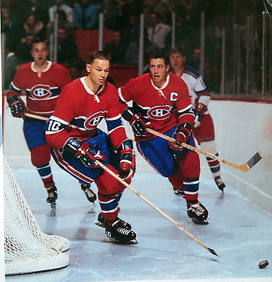 Jean Beliveau Ted Harris Montreal Canadien 1968 Nostalgia  Hockey Color Photo B1