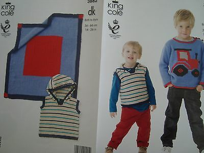 King Cole 3862 Baby/Child Tractor Sweater, Gilet & Blanket DK Knitting Pattern