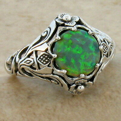 Green Lab Opal Antique Nouveau Design .925 Sterling Silver Ring,             #39