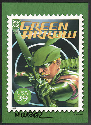 Matt Wagner SIGNED USPS Super Hero JLA Stamps Art Post Card ~ Green Arrow