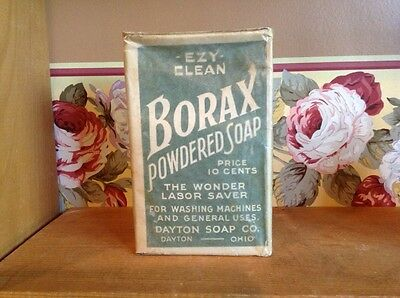 Antique unopened Borax powdered soap box Dayton Soap Co.