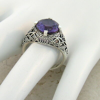 5 Ct. Color Changing Lab Alexandrite Antique Style .925 Sterling Silver Ring,#40