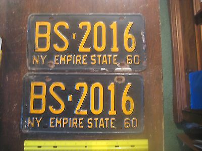 License Plate, New York, 1960, Pair, State Motto: Empire State,  BS  2016 No BS!