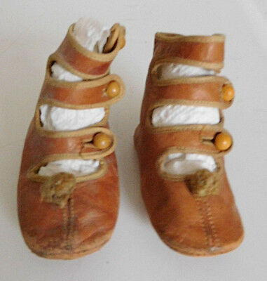 Antique Little Girl or Doll High Strap Button Up Leather Shoes