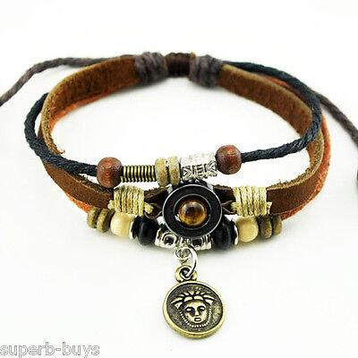 Egyptian Bracelet - Leather Band - Beads - Egypt Figure - Good Luck Charm - New