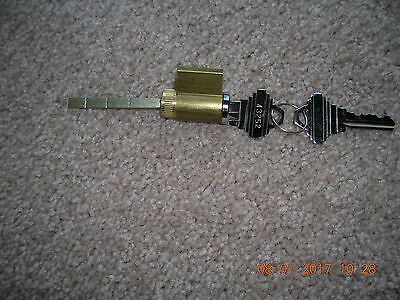((( PELLA,))) LOCK AND KEY CYLINDER Brass with CHROME END  NEW  Made for Pella