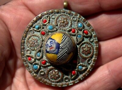 Spectacular Very Old Ornate Bronze & Phoenician Glass With Face Pendant