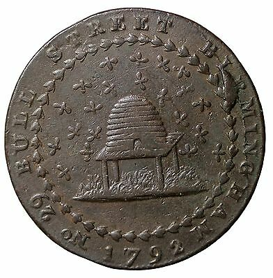 1792 Great Britain Nottinghamshire Halfpenny Conder Token D&H-7 Beehive Donald