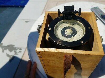 Vintage WeemsNautical Compass in Wood Box