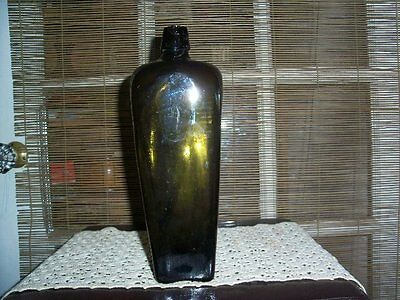 Antique Tall Dark Green Glass Bottle 4-Sided Thick Glass