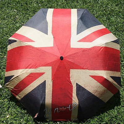 Retro Automatic Compact Folding Umbrella Anti UV Windproof Sun Rain Flag England