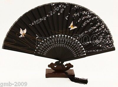 Japanese Black Bamboo Folding Silk Plum Blossom HAND FAN Wedding Party Gift