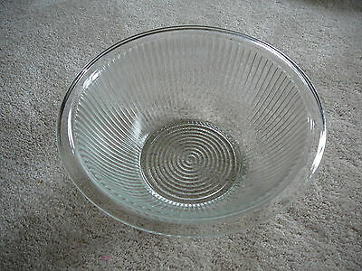 """Vintage 1930s  CLEAR DEPRESSION GLASS 10"""" NESTING MIXING BOWL RIBBED SIDES"""