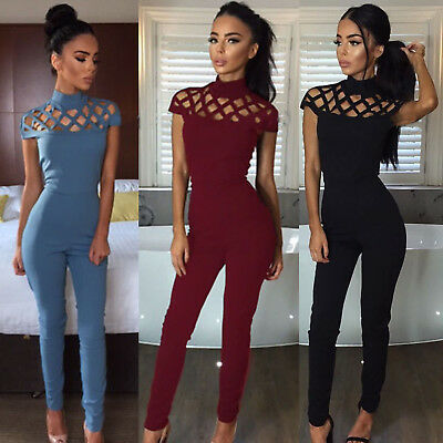 Women's Bodycon Romper Clubwear Jumpsuit Playsuit Overalls Long Pants Trousers